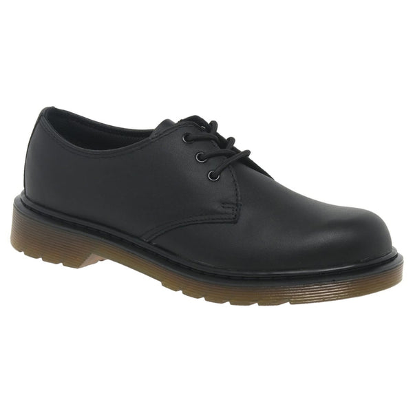 Dr.Martens Everley 3-Eyelet Leather Kids Shoes#color_black