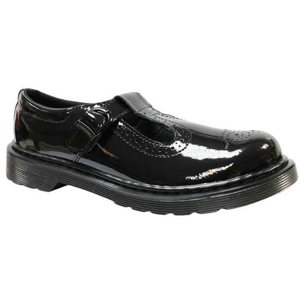 Dr.Martens Polley Brogue Leather Kids Shoes#color_black