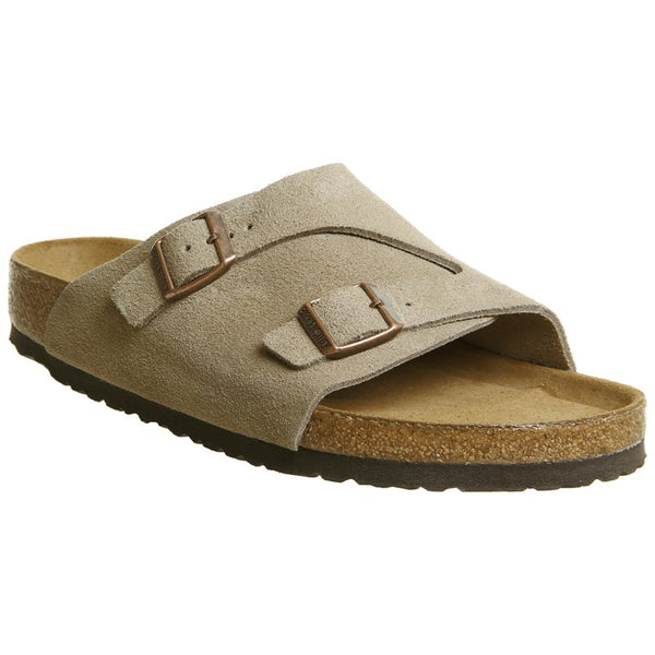 Birkenstock Zurich Soft Footbed Leather Unisex Sandals#color_taupe