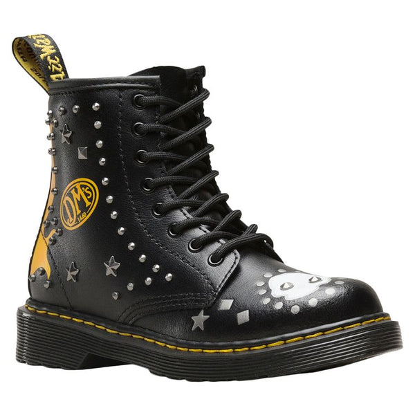 Dr.Martens 1460 Patch+Stud Y T Lamper Leather Youth Boots#color_black multi