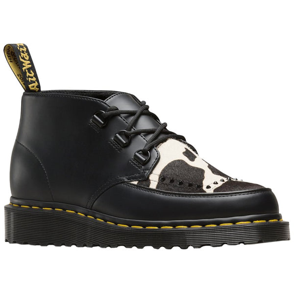 Dr.Martens Ramsey Chukka Polished Smooth Leather-Friesian Hair On Unisex Boots#color_black