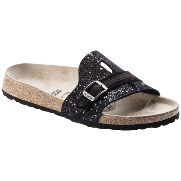Papillio Carmen Suede Embossed Womens Sandals#color_silver splashes black