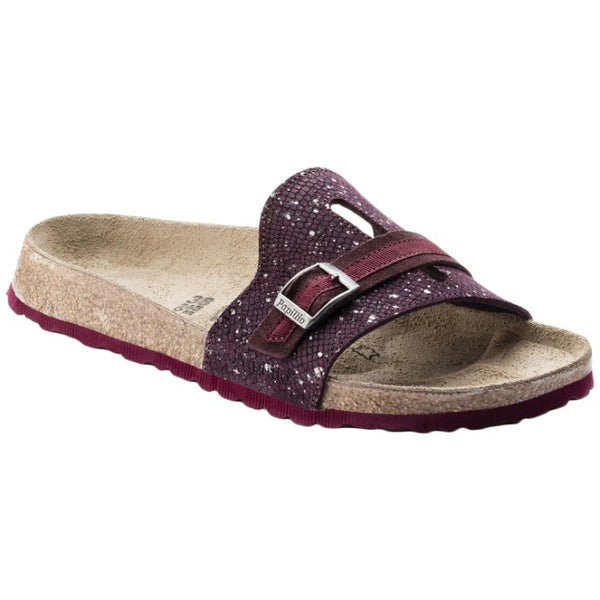 Papillio Carmen Suede Embossed Womens Sandals#color_silver splashes wine