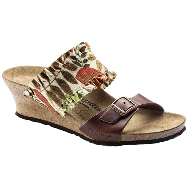 Papillio Della Stretch/Natural Leather Womens Sandals#color_flower frill brown