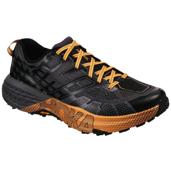 Hoka One One Speedgoat 2 Textile Synthetic Mens Trainers#color_black kumquat