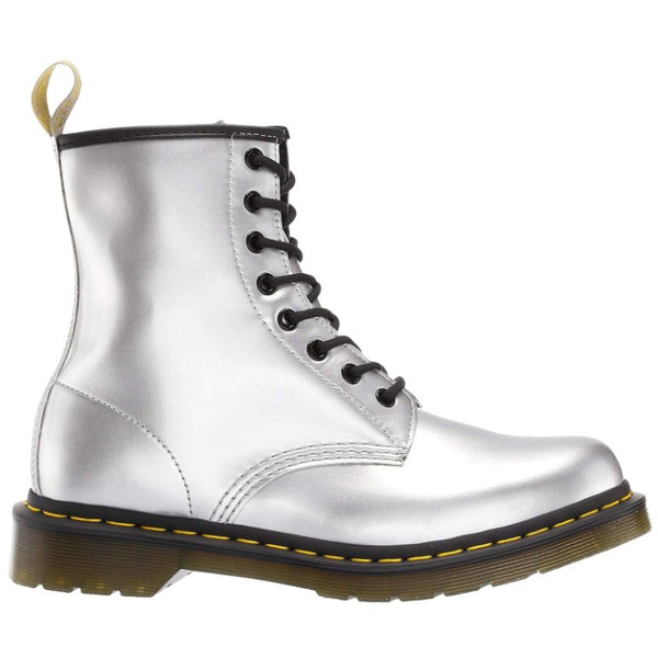 Dr.Martens 1460 Vegan Chrome Paint Metallic Synthetic Womens Boots#color_silver