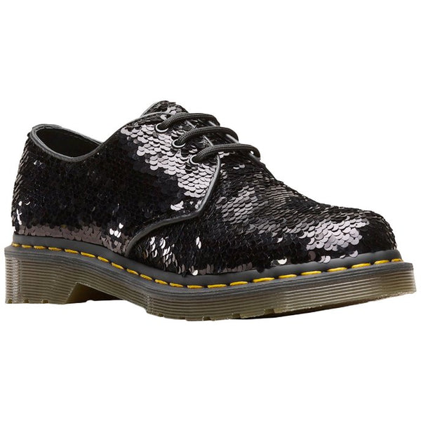 Dr.Martens 1461 Sequin Shift Sequins Synthetic Womens Shoes#color_black silver