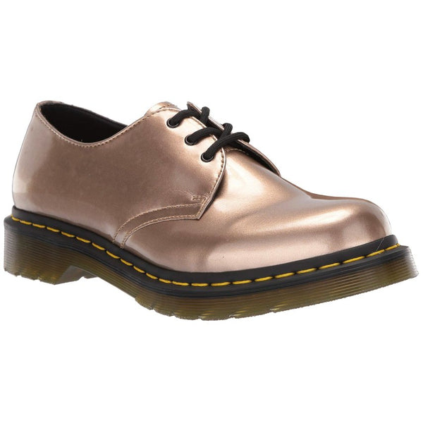 Dr.Martens 1461 Vegan Chrome Paint Metallic Synthetic Womens Shoes#color_rose gold