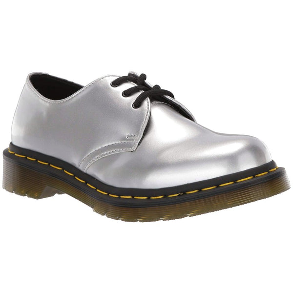Dr.Martens 1461 Vegan Chrome Paint Metallic Synthetic Womens Shoes#color_silver