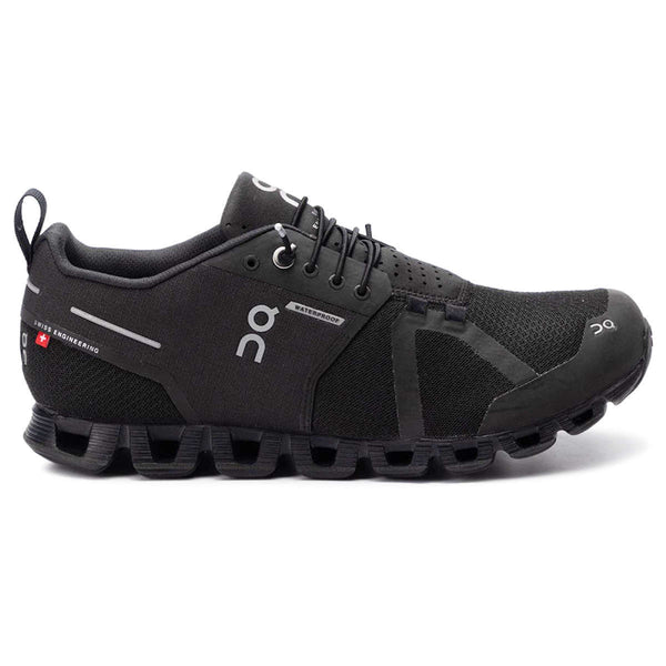 On Running Cloud Waterproof Textile Synthetic Mens Trainers#color_black lunar