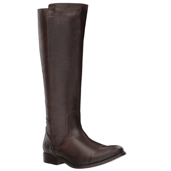Frye Melissa Stud Back Zip Leather Womens Boots#color_chocolate