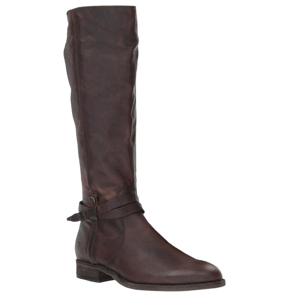 Frye Melissa Belted Tall Leather Womens Boots#color_redwood