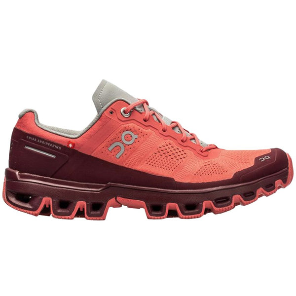 On Running Cloudventure Textile Synthetic Womens Trainers#color_coral mulberry