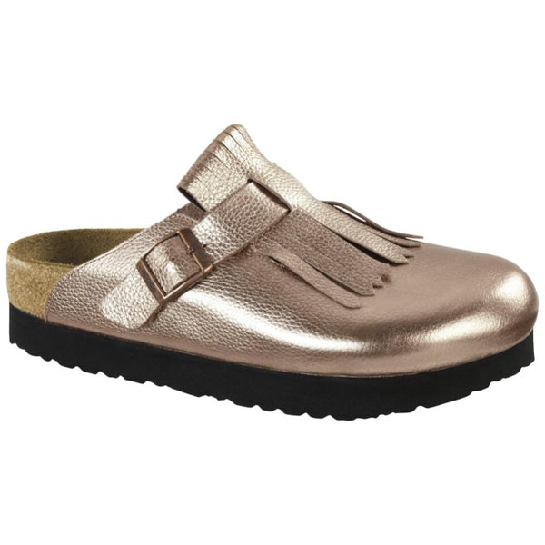 Papillio Boston Fringe Metallic Leather Unisex Sandals#color_rose