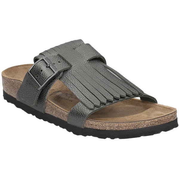 Papillio Maddie Fringe Metallic Leather Unisex Sandals#color_anthracite