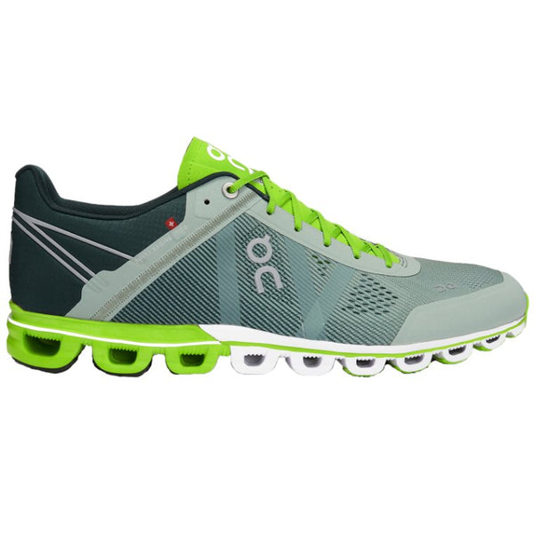 On Running Cloudflow Textile Synthetic Mens Trainers#color_moss lime