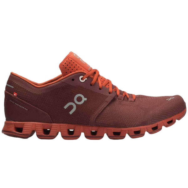 On Running Cloud X Textile Synthetic Mens Trainers#color_sienna rust