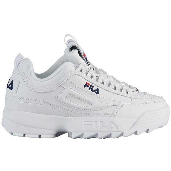 Fila Disruptor II Leather Youth Trainers#color_white peacoat red