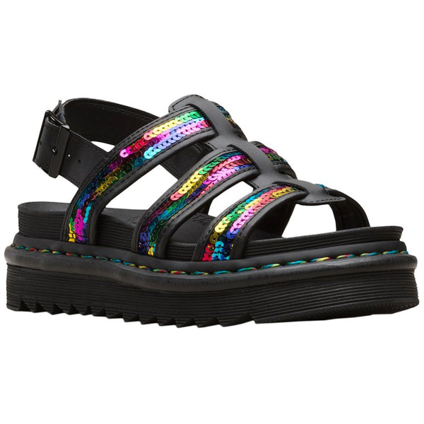 Dr.Martens Yelena Sequin Leather Textile Womens Sandals#color_rainbow