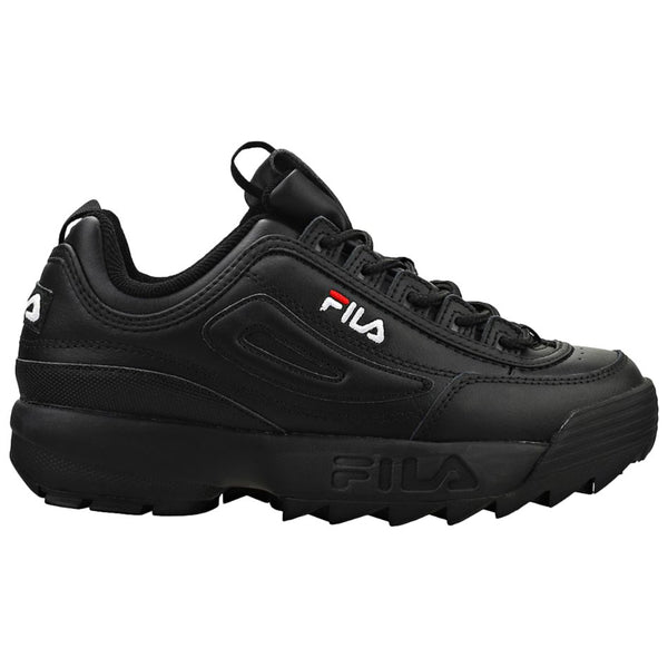 Fila Disruptor II Premium Leather Synthetic Unisex Trainers#color_black white red