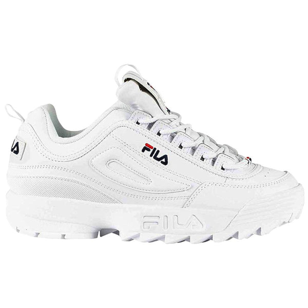 Fila Disruptor II Premium Leather Synthetic Unisex Trainers#color_white