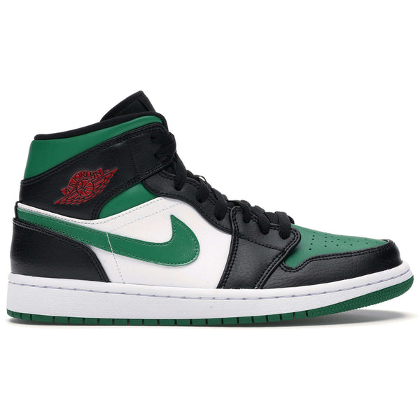 Nike Jordan Air Jordan 1 Mid Leather Synthetic Mens Trainers#color_black pine green white