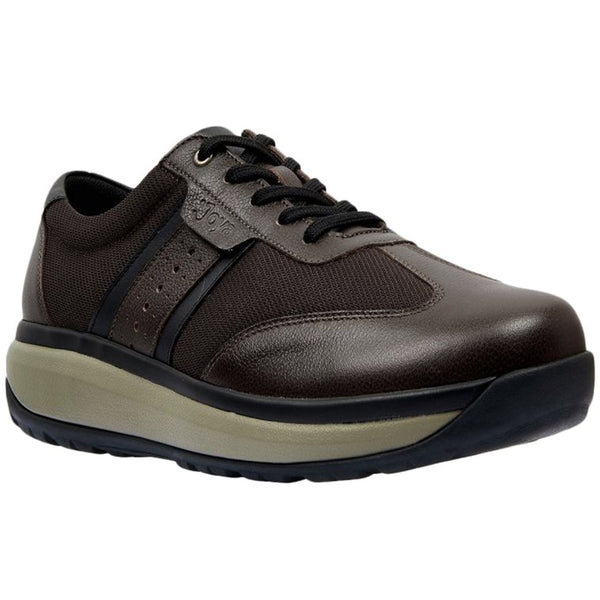 Joya David Leather Textile Mens Trainers#color_coffee bean