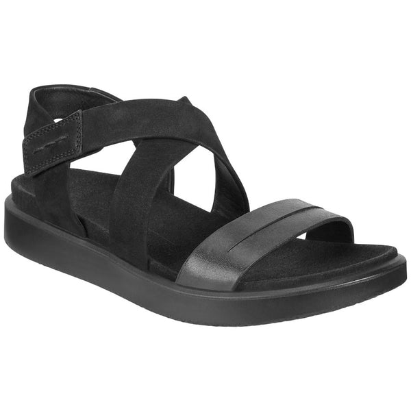 Ecco Flowt Leather Nubuck Womens Sandals#color_black