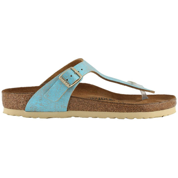 Birkenstock Gizeh Washed Metallic Suede Unisex Sandals#color_aqua