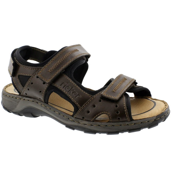 Rieker Christian 26061 Leather Mens Sandals#color_nougat black chestnut
