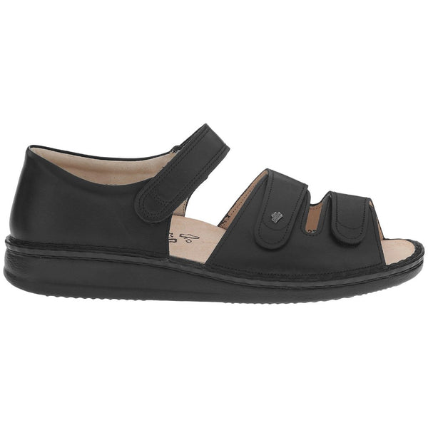 Finn Comfort Baltrum Leather Womens Sandals#color_black nappa