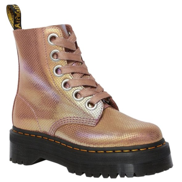 Dr.Martens Molly Iridescent Leather Womens Boots#color_pink