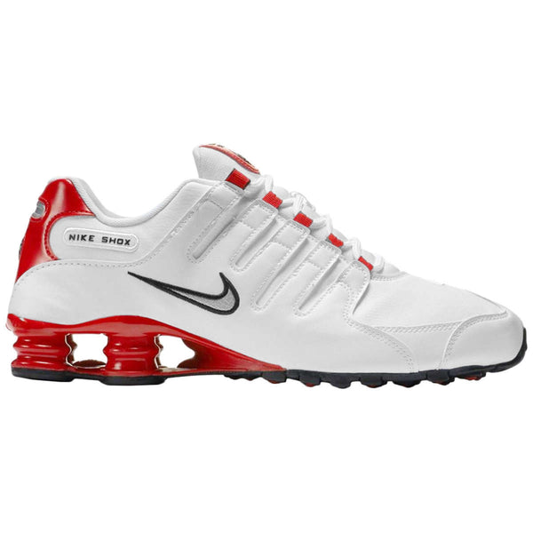 Nike Shox NZ Leather Synthetic Mens Trainers#color_white silver red
