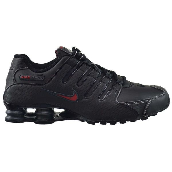 Nike Shox NZ Leather Synthetic Mens Trainers#color_black varsity red white