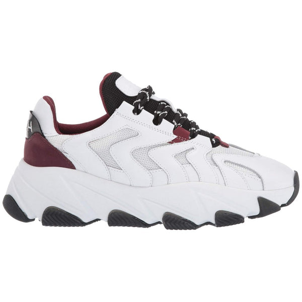 Ash Extreme Leather Textile Womens Trainers#color_white black bordeaux