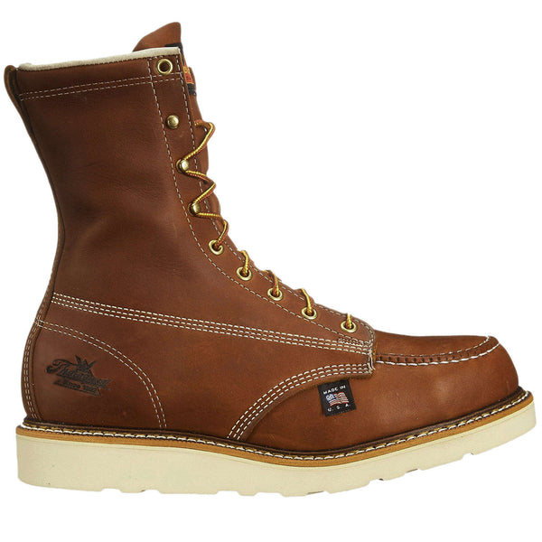 Thorogood 8 Inch Moc Toe Safety Toe Leather Mens Boots#color_tobacco