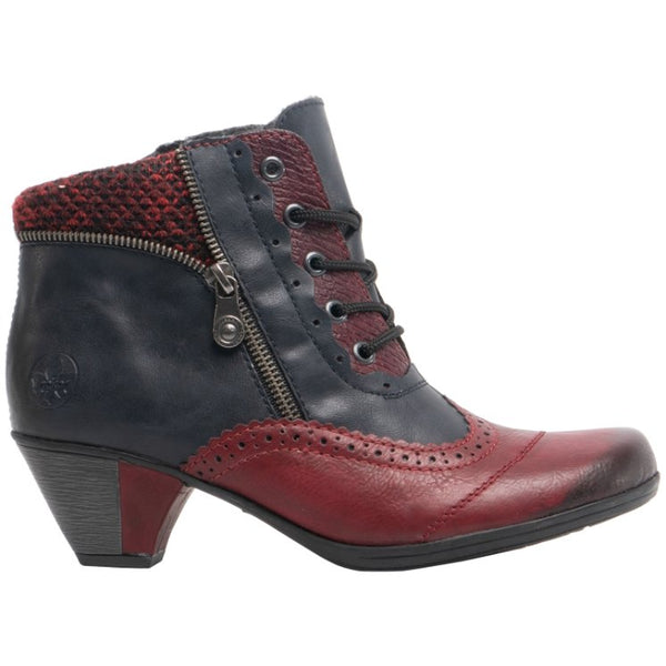 Rieker Annemarie Y7211 Leather Womens Boots#color_wine navy