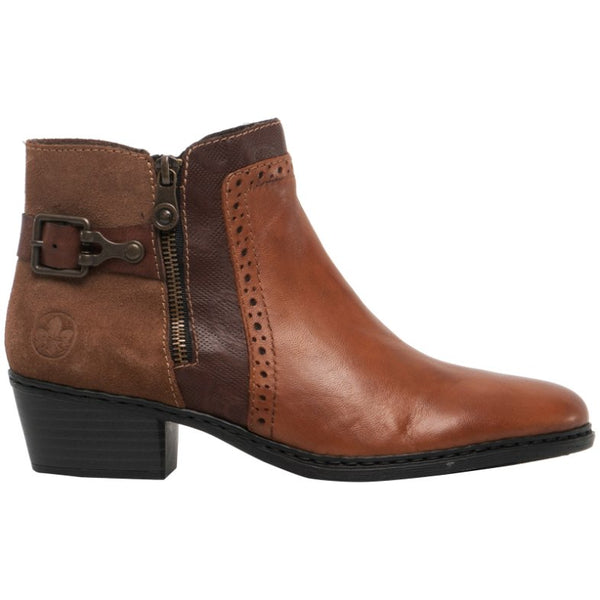 Rieker Aurelia 75585 Leather Womens Boots#color_muskat brandy