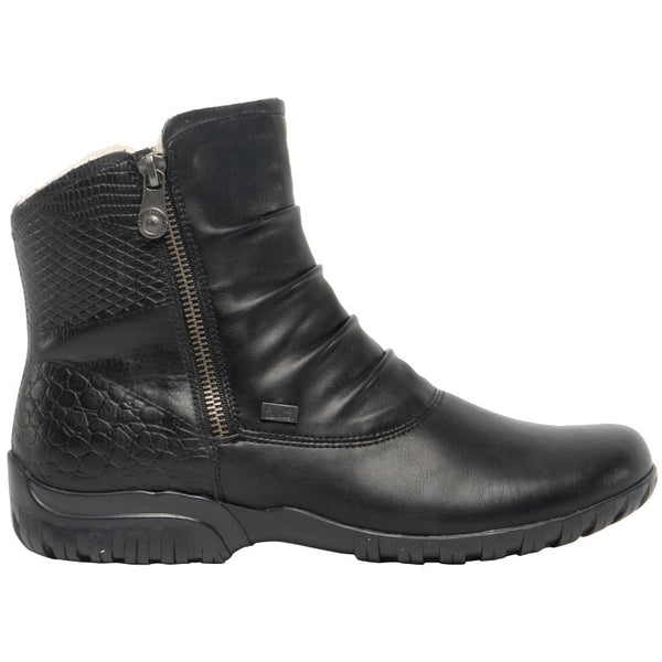 Rieker Birthe Z4663 Leather Womens Boots#color_black