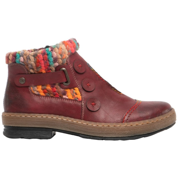 Rieker Felicitas Z6759 Synthetic Womens Boots#color_wine multi