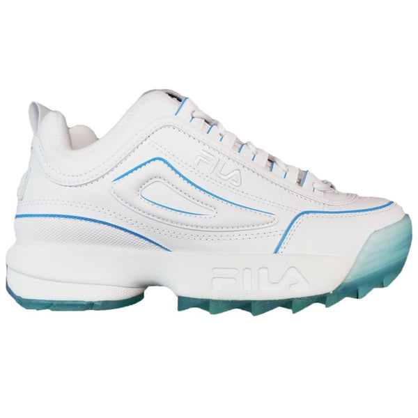 Fila Disruptor II Ice Leather Synthetic Womens Trainers#color_white crystal sea