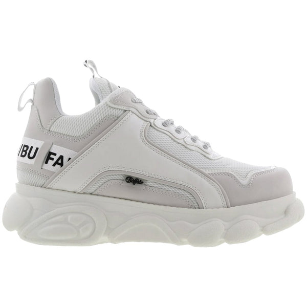 Buffalo Chai Synthetic Mesh Womens Trainers#color_white