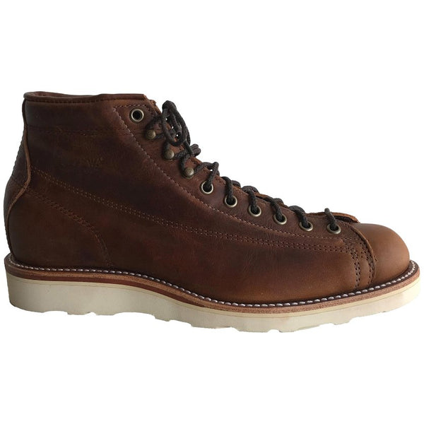 Chippewa 6'' Lace Toe Wedge Leather Mens Boots#color_cuero