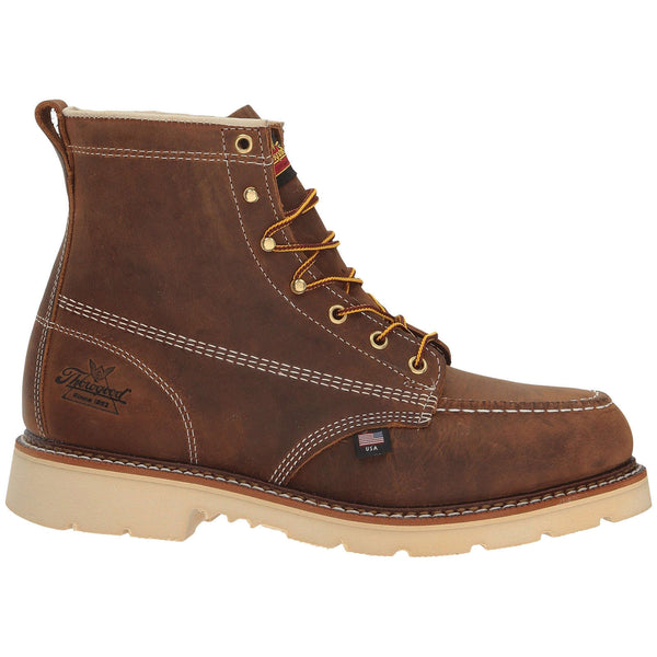 Thorogood 6'' Moc Toe Safety Toe Leather Mens Boots#color_crazy horse