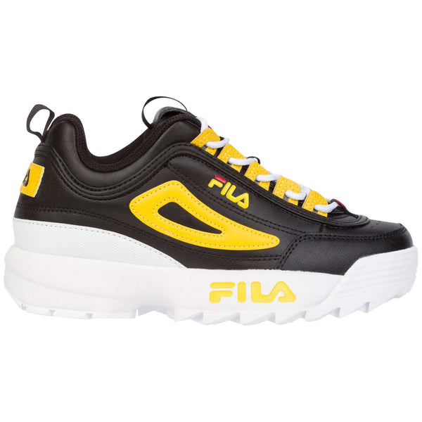 Fila Disruptor II Leather Synthetic Youth Trainers#color_black lemon white