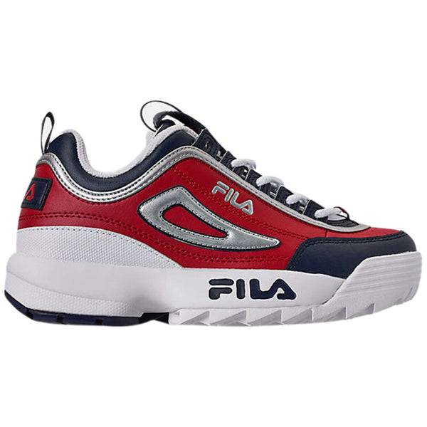 Fila Disruptor II Leather Synthetic Youth Trainers#color_premium red white