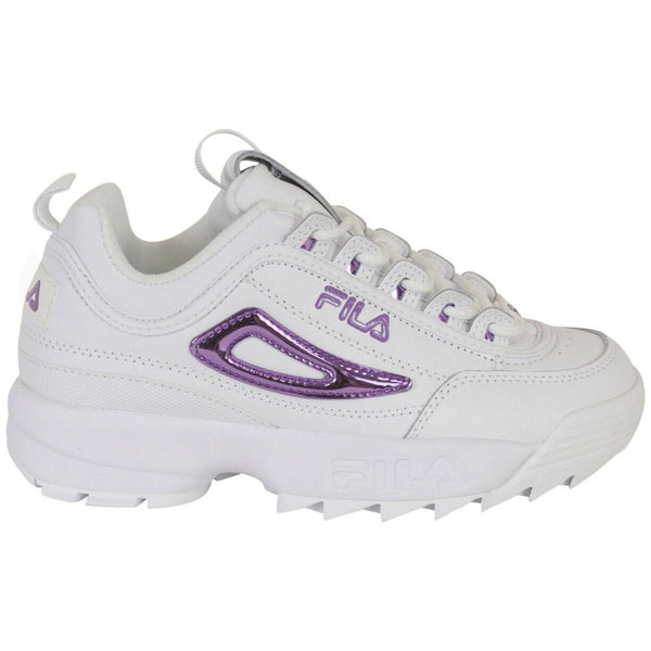 Fila Disruptor II Metallic Accent Leather Synthetic Womens Trainers#color_white lavander