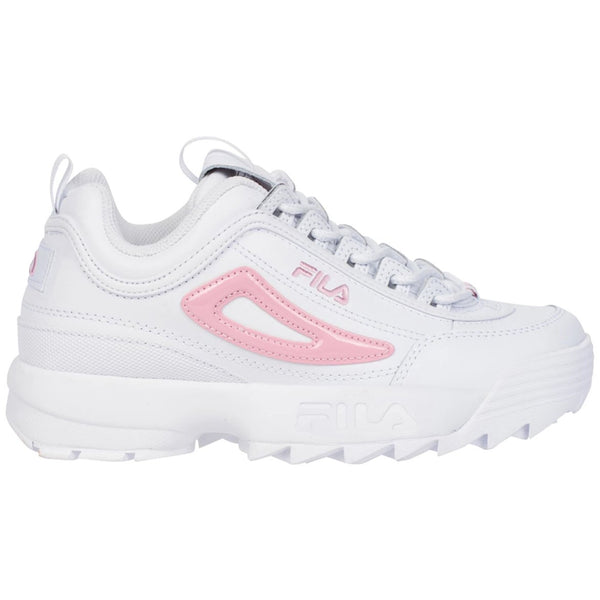 Fila Disruptor II Metallic Flag Leather Synthetic Youth Trainers#color_white coral blush