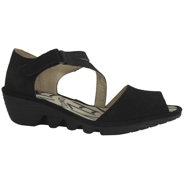 Fly London PONA156FLY Cupido Leather Womens Sandals#color_black