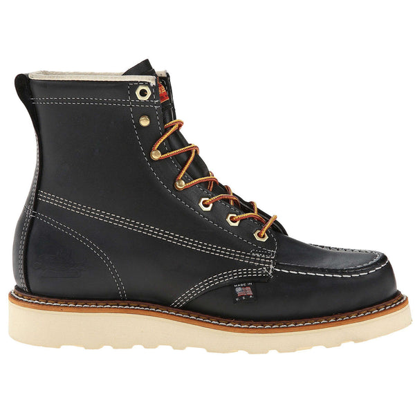 "Thorogood 6"" Inch Moc Toe Safety Toe Leather Mens Boots#color_black"